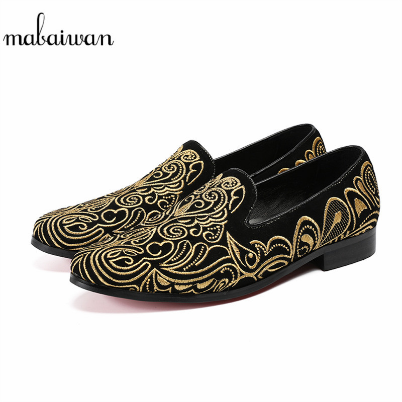 Mabaiwan Men Black Suede Casual Shoes Loafers Gold Embroidery Slipper Dress Shoes Men Leather Handmade Party Flats Plus Size