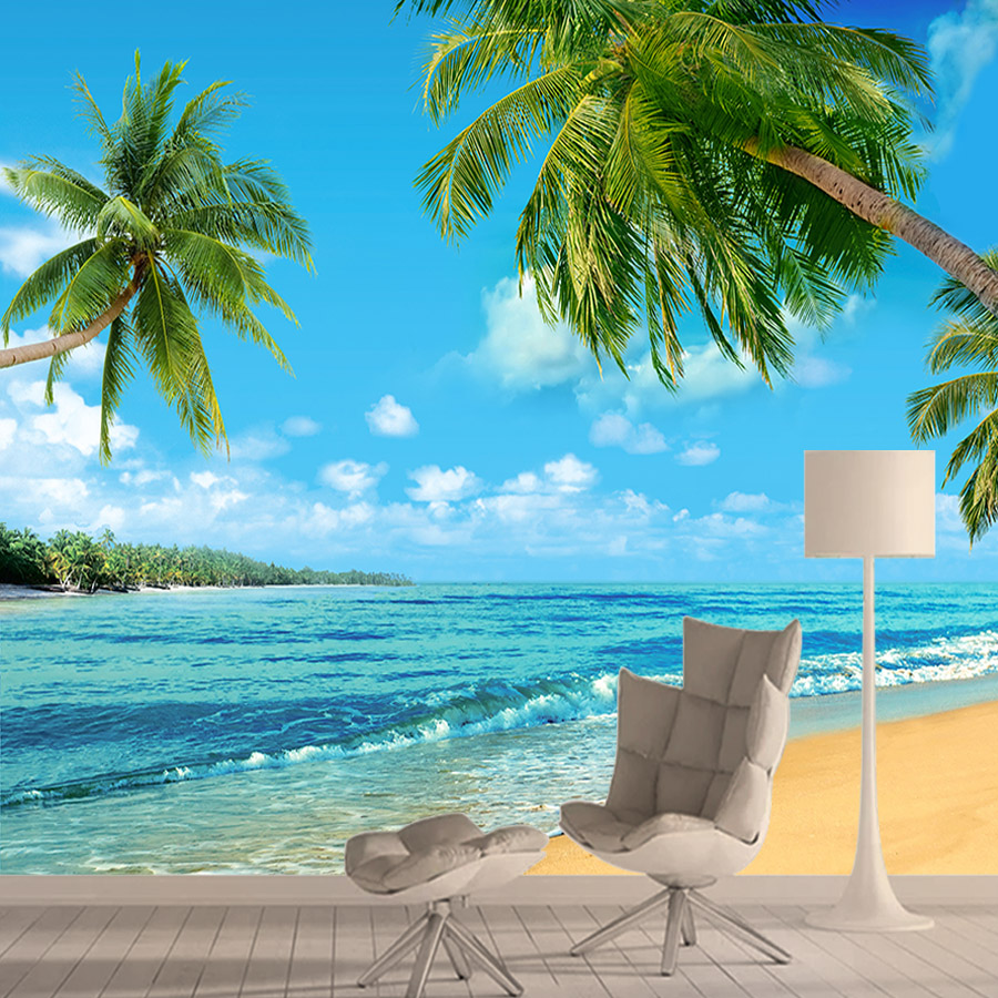 Wall Paper Papers Home Decor 3d Photo Wallpaper Mural Wallpapers For Living Room Coconut Palm Seascape Peel And Stick Walls Roll