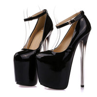 Women Sexy Black Plus Size 41 42 43 Round Closed Toe On The Platform 20 Cm