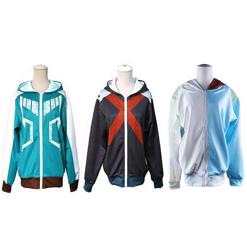 My Hero Academia Bakugou Katsuki Cosplay Costumes Jackets Hoodies Sweatshirts Anime COS Long Sleeve Zipper Set For Men Adult