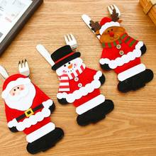 3Pcs Christmas Decoration 2017 Cutlery Suit Silveware Holders Porckets Knifes Folks Bag Snowman Dinner Decor Home Decoration(China)