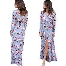 e38d00a70c95a8 Elegant Dresses for women light blue Floral print v neck long sleeves  autumn dress(China