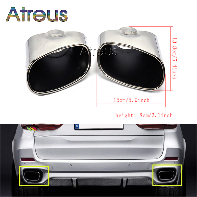 Atreus 2pc Chrome Car Exhaust Dual Tail Pipe Muffler Tip Stainless Steel Tailpipe Cover For BMW X5 E70 E53 Accessories 2000 2016