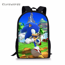 ELVISWORDS Fashion Kids Backpacks Sonic Hedgehog Pattern Childrens School Book Bags Toddler Schoolbags Women Travel Backpack