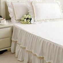Súper Romántico Europeo falda de la cama colcha de encaje bordado hecho a mano arruga cubierta de cama hoja de cama de calidad decoración de la boda