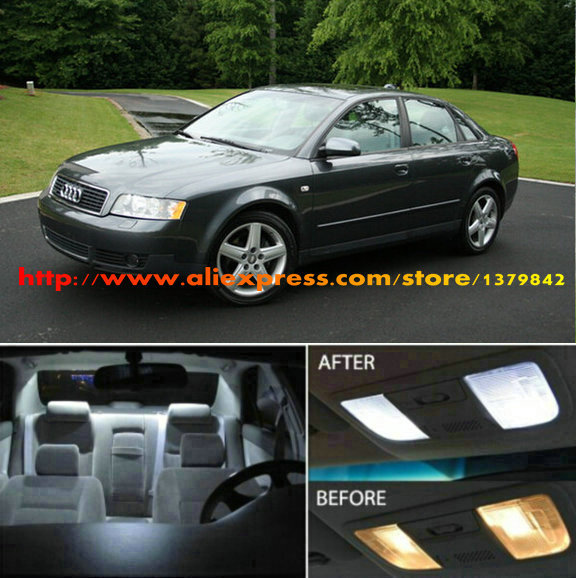 Free Shipping 17Pcs/Lot 12v car-styling Xenon White/Blue Package Kit LED Interior Lights For Audi A4 (B6) Sedan 2002 - 2004