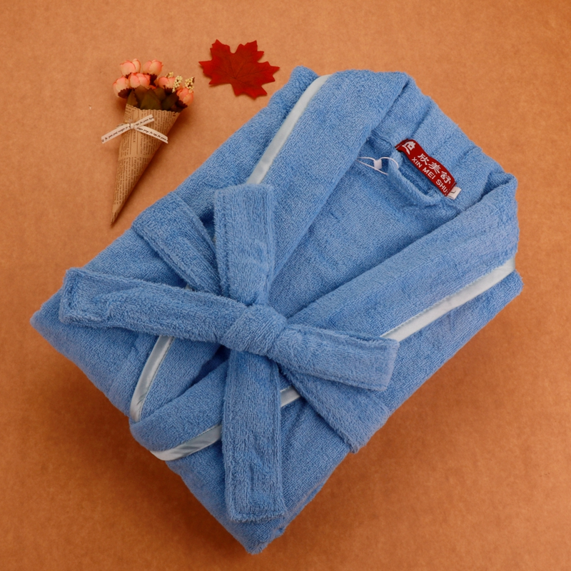 Bathrobe Cotton Men 100% Cotton Towel Fleece Kimono Bath Robe Warm Air Couple Pajamas Nightgown Long-sleeved Autumn Winter