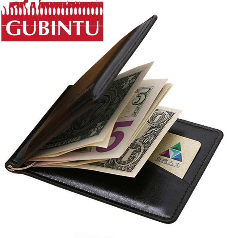GUBINTU brand Men leather money clip wallet with coin pocket magnet hasp portable man purse with card slot Clamp carteras hombre y zhuo brand soft genuine leather money clip with zipper coin pocket slim male wallet purse money dollar holder carteras for men