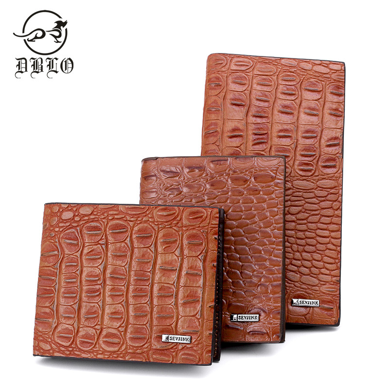 DBLO Alligator Grain Mens Wallets Mens Fashion Male Wallet Card Holder Leather Wallet Men Designer Purses For Men Brand Purse 2017 men business short leather wallet male brand wallets purses with card holder for men