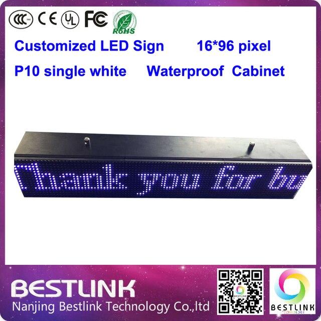 Электронные из светодиодов знак p10 одного белого 16 * 96 пикселей из светодиодов перемещение текста программируемый из светодиодов такси топ рекламный щит diy kit
