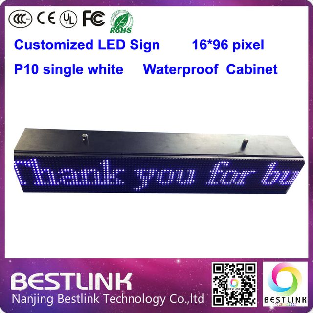electronic led sign p10 outdoor single white 16*96 pixel led moving text programmable led taxi top advertising billboard diy kit