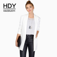 HDY Haoduoyi Women Jacket Long Sleeve Lapel Slim One Button Packet OL Coat Candy Color Fashion