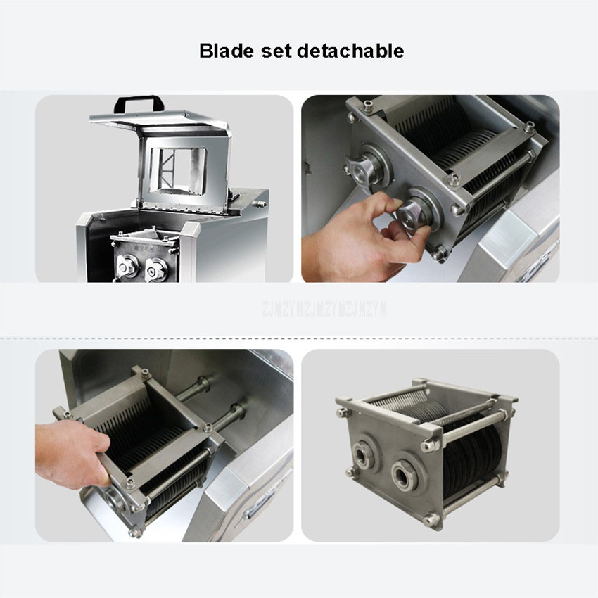 3.5mm Blade Spacing Stainless Steel Meat Slicer Commercial Automatic Meat Grinder Electric Vegetables Cutting Machine 220kg/h 3
