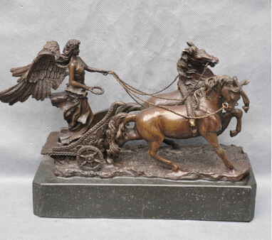 Copper Brass CHINESE crafts decoration Asian Bronze Soldier Angel Lead Two Horse Chariot Art Sculpture Statue cigarette