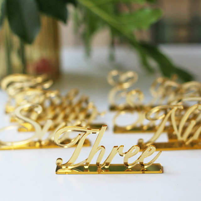 Acrylic Table Numbers For Weddings And Events Standing Gold Silver Clear