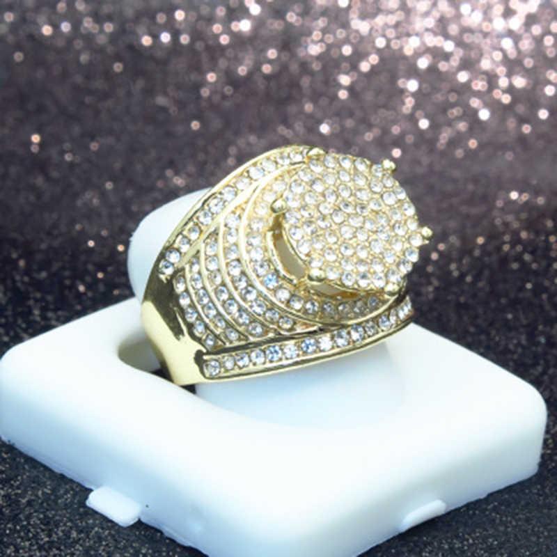 יוקרה גדול עגול CZ טבעות זהב צבע תפוח הימי מיקרו סלול מלא מעוקב זירקון בלינג אייס מתוך טבעת Hiphop גברים של תכשיטי Z4M057