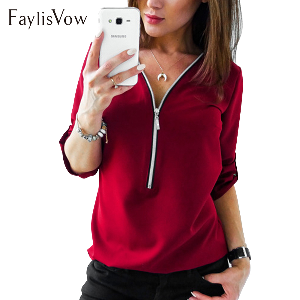 V Neck Zipper Long Sleeve Autumn Blouse Big Size 4XL 5XL Women Casual Elegant Ladies Office Shirts Womens Tops And Blouses