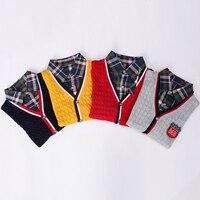 High Quality Children Clothes Outwear Boys Sweater Brand Design Fashion Turn Down Fake Collar Boy Cardigan