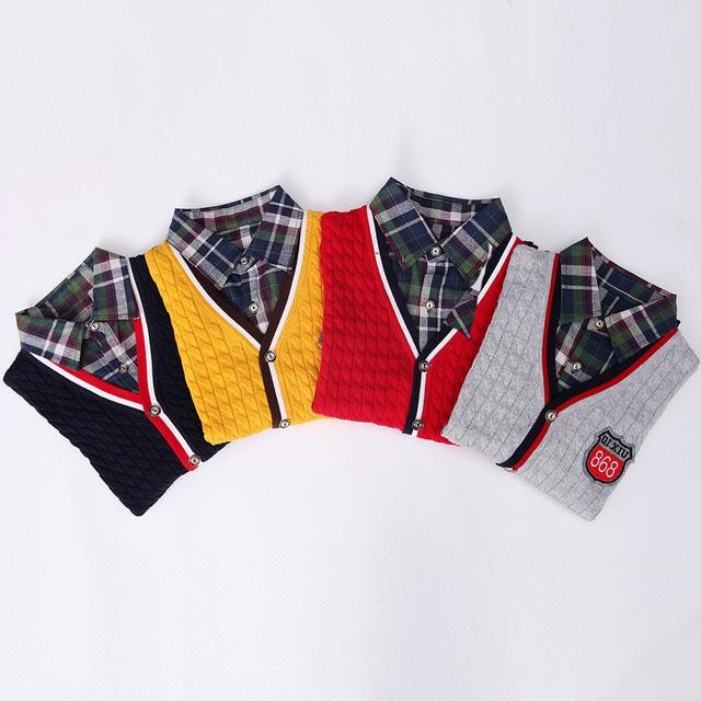 Meninos camisola de design da marca de alta qualidade crianças roupas outwear moda Turn-down collar Falso menino roupas cardigan crianças camisola