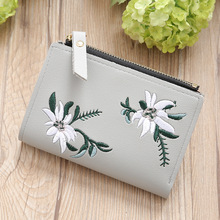 2019 new short student female wallet embroidery thin section double zipper ladies synthetic leather small c