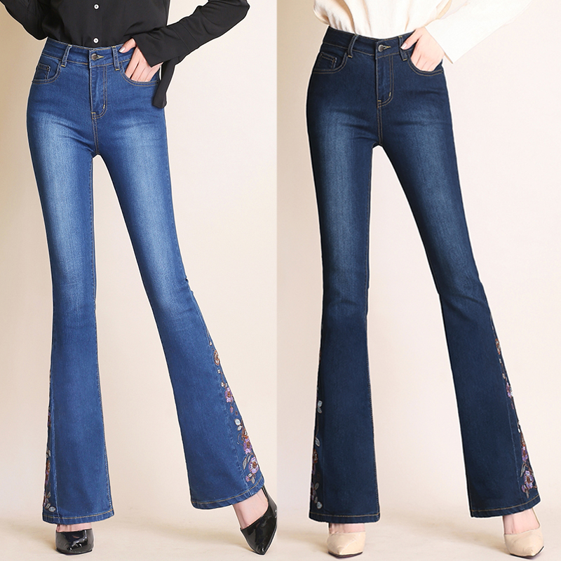 2019 New Women Flare Denim Pants Embroidery Leg High Waist Female Floral Casual Jean Women High Quality Skinny Fit Slim Trousers