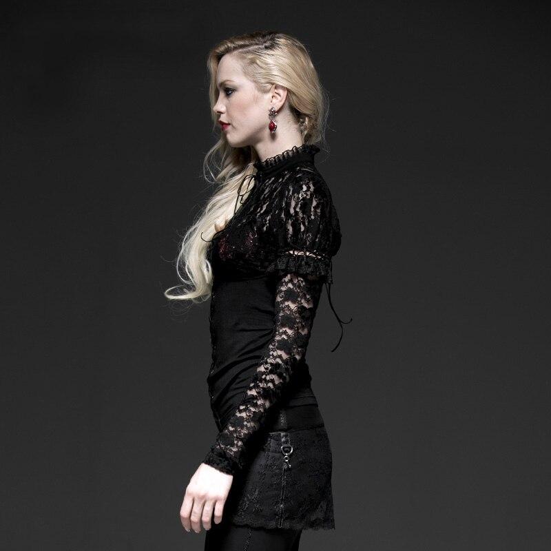 shirt Diable Avec Gothique Rose T épaule T Shirts Manchette Steampunk Noir Sexy Top Black En Dentelle Strap Longues Mode Winter2016 Off Manches XiuTOPkZw