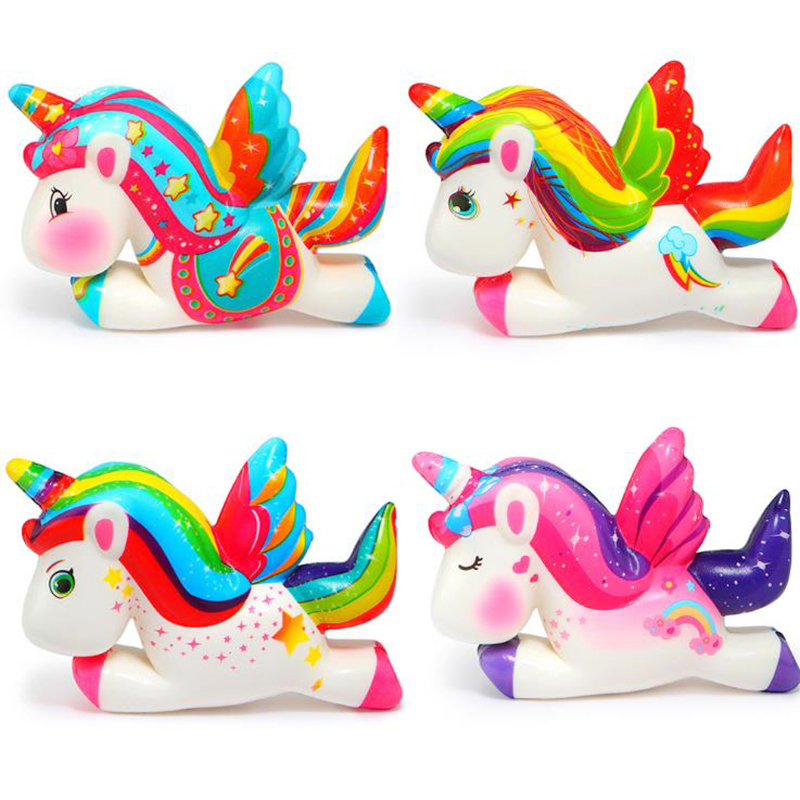 Kawaii Colorful Unicorn Pegasus Squishy Slow Rising Bread Scent Soft Squeeze Toy Stress Relief Simulation Fun For Kid Xmas Gift