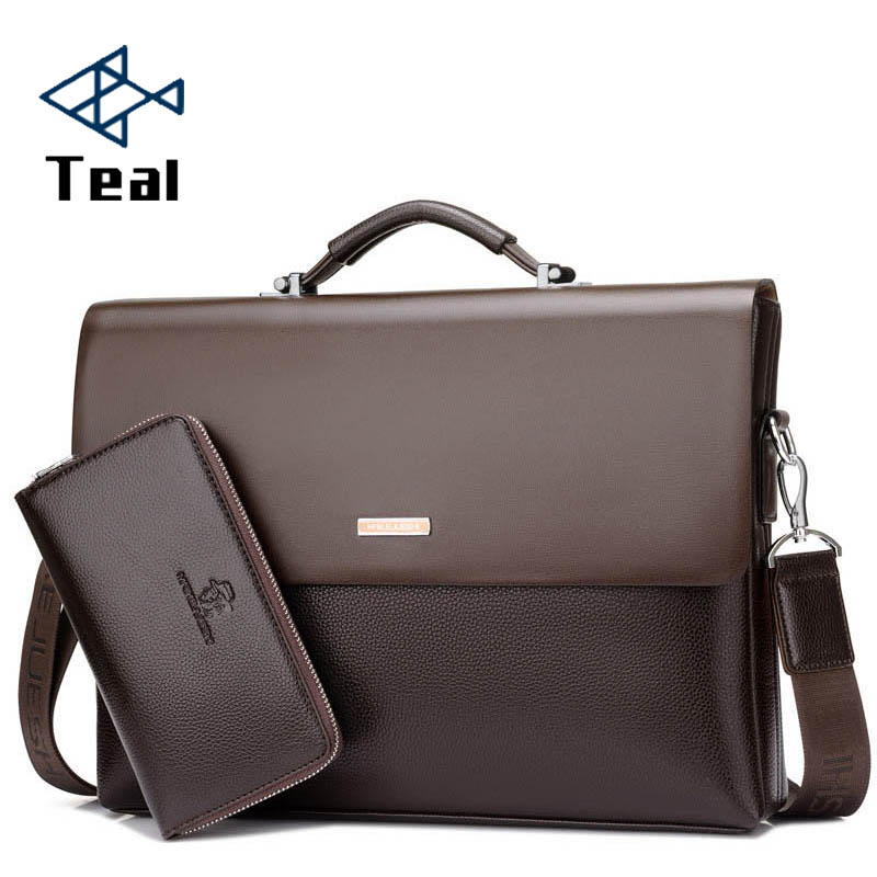 d1b111038c VICUNA POLO Famous Brand Simple Mens Leather Briefcase Bag Solid Large Business  Man Bag Laptop Handbag pasta executiva masculino