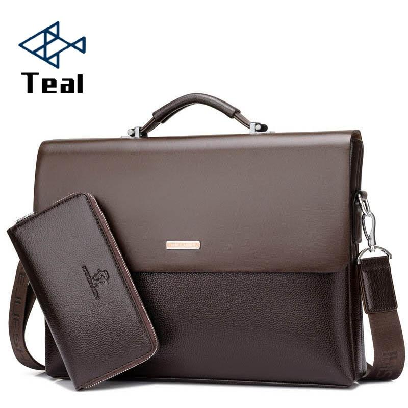 Men s Briefcase Portfolio Men s bag over the shoulder Laptop bags pu Leather Shoulder bag