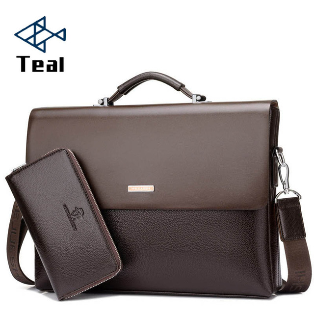 2019 Brand Business Men Briefcase Bag Pu Leather Black Luxury Designer Laptop Office Large Capacity