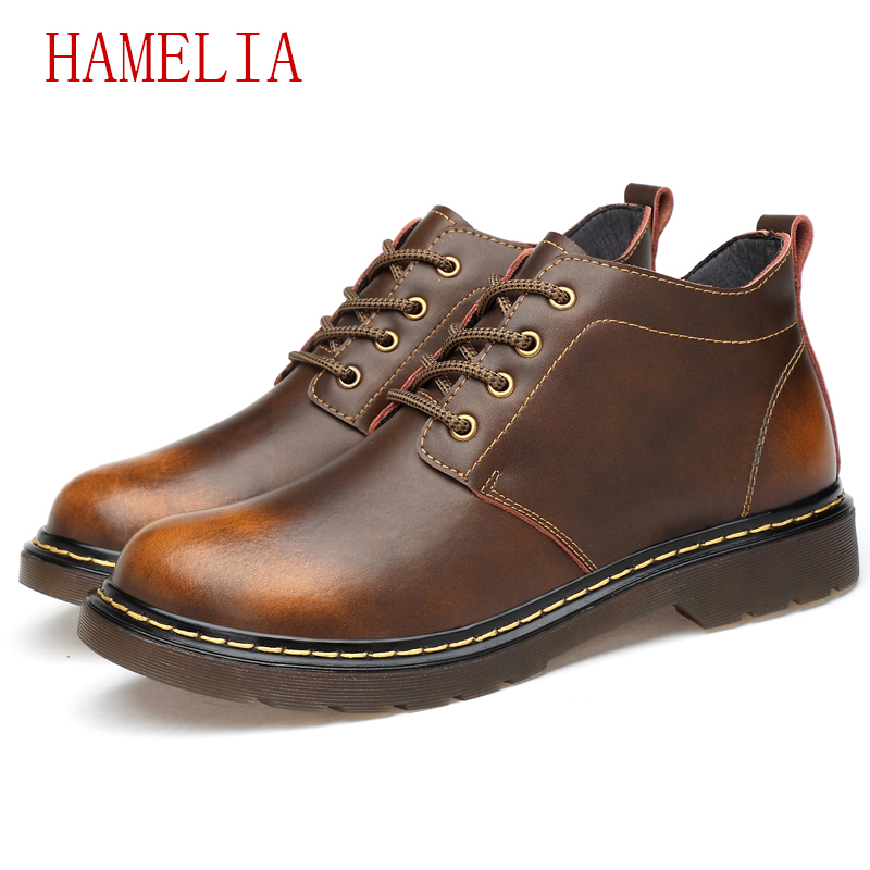 Hamelia Genuine Leather Men Dress shoes big size 13 cow leather casual Martin flats shoes on foot laceup Tooling big head shoes hamelia big size 49 genuine leather men winter casual shoes black cow leather shoes slip on lace up men lazy loafers flats