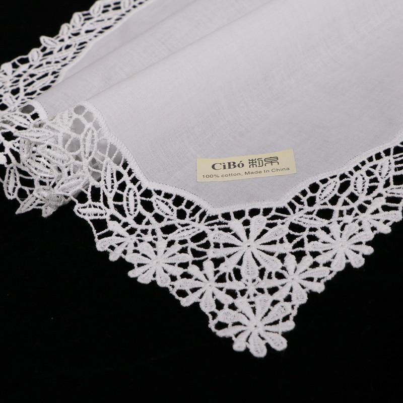 D601 White premium cotton lace handkerchiefs 12 piece pack blank crochet hankies for women ladies wedding
