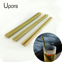 UPORS 200Pcs/Set Eco Friendly Natural Bamboo Straw for Bar Accessories Wholesale Drinks Straw for Mugs Reusable Straws