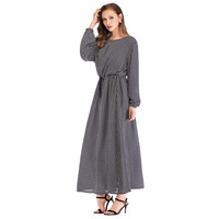 Muslim Dresses Women Casual O Neck Bnandge Ankle Length Loose Long Sleeve Arab Dress Islam Jilbab Femme Dress
