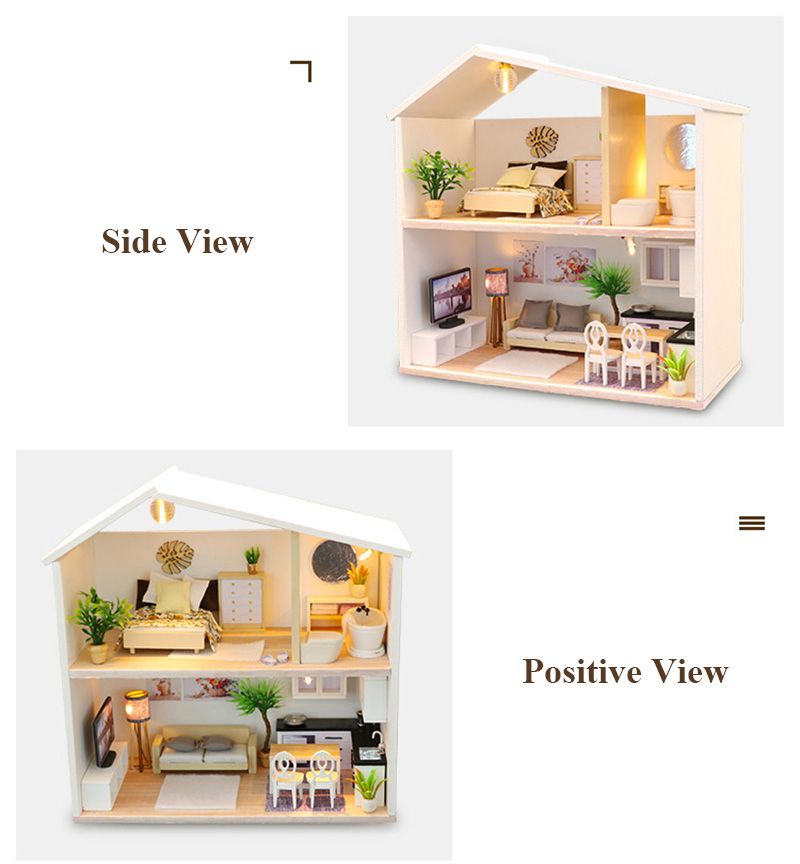 DIY Doll House Wooden Miniature Dollhouse Furniture Assemble Kits 3D Handmade Mini Dollhouse Toys for Children Birthday Gifts Light Time (4)