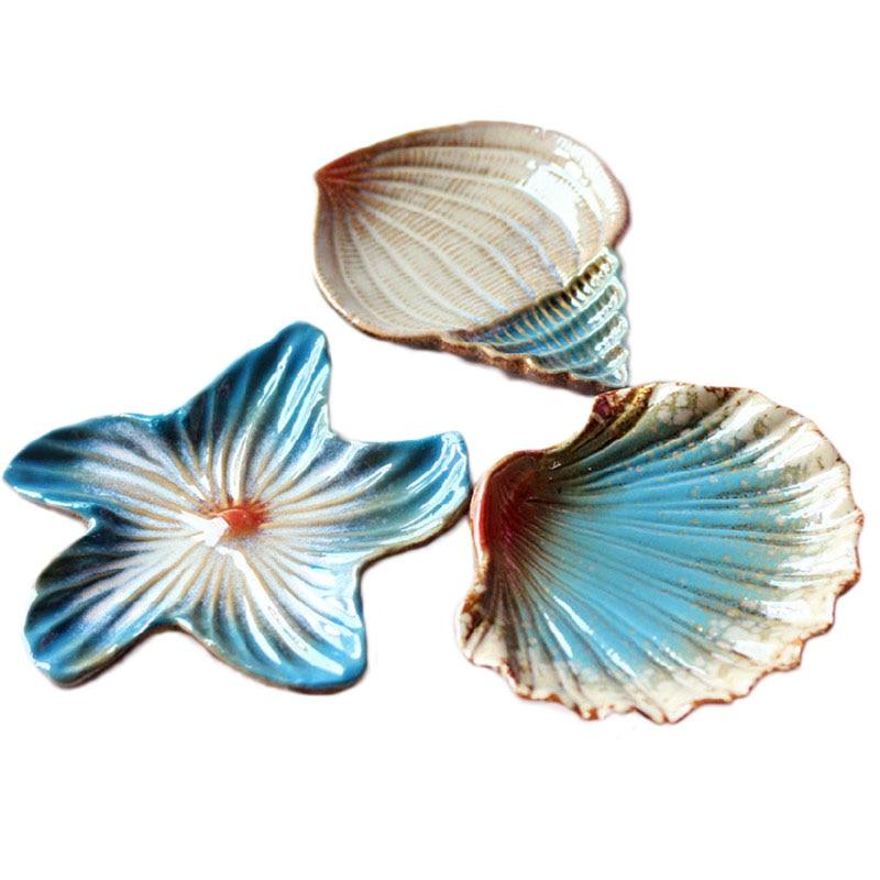 Mediterranean Style Dinnerware: Mediterranean Style Ceramic Fruit Dishes Snack Plate Sea