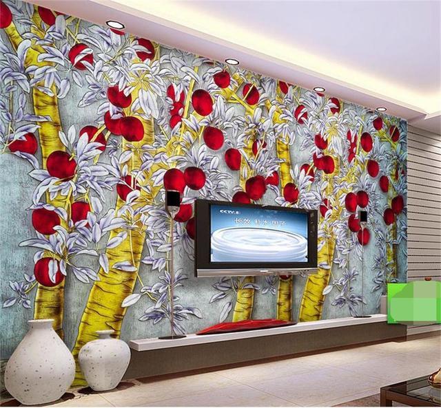 13 17 51 De Réduction 3d Plafond Peintures Murales Papier Peint Personnalisé Photo Non Tissé Sculpté Doré Pommier Décoration Peinture 3d Mural Pour