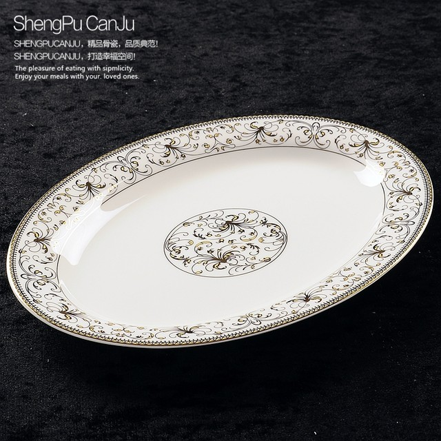 12 inch bone china fish plate gold butterfly banding oval dinner plates for dinner serving tableware plates \u0026 dishes & Online Shop Sale! 12 inch bone china fish plate gold butterfly ...