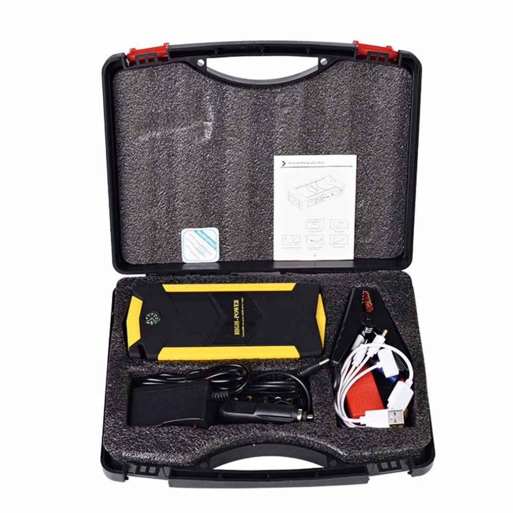 цена на Car Jump Starter 12V 69800mAh Capacity Multi functional 4 USB Booster Charger Battery Power Bank Emergency Mobile Power Tool Kit