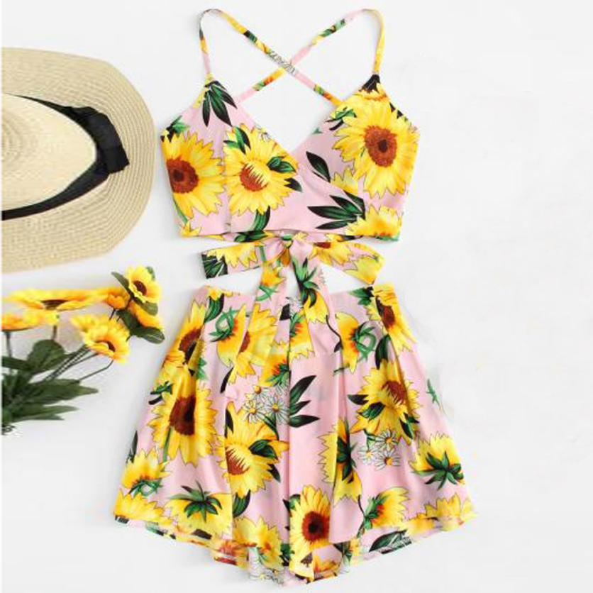 Feitong Casual Two Piece Set Women Strapy Sunflower Printed Deep V-neck Bowknot Cropped Top Camisole Hot Shorts Summer Beach Set