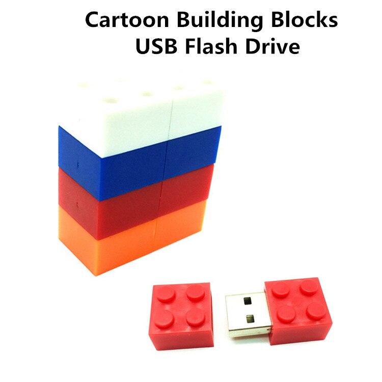 Blocos de construção dos desenhos animados pendrive usb 2.0 flash drive usb  de silicone pen drive 4 gb 8 gb 16 gb 32 gb 64 gb de memória brinquedo das  ... 5e1ba95324eca