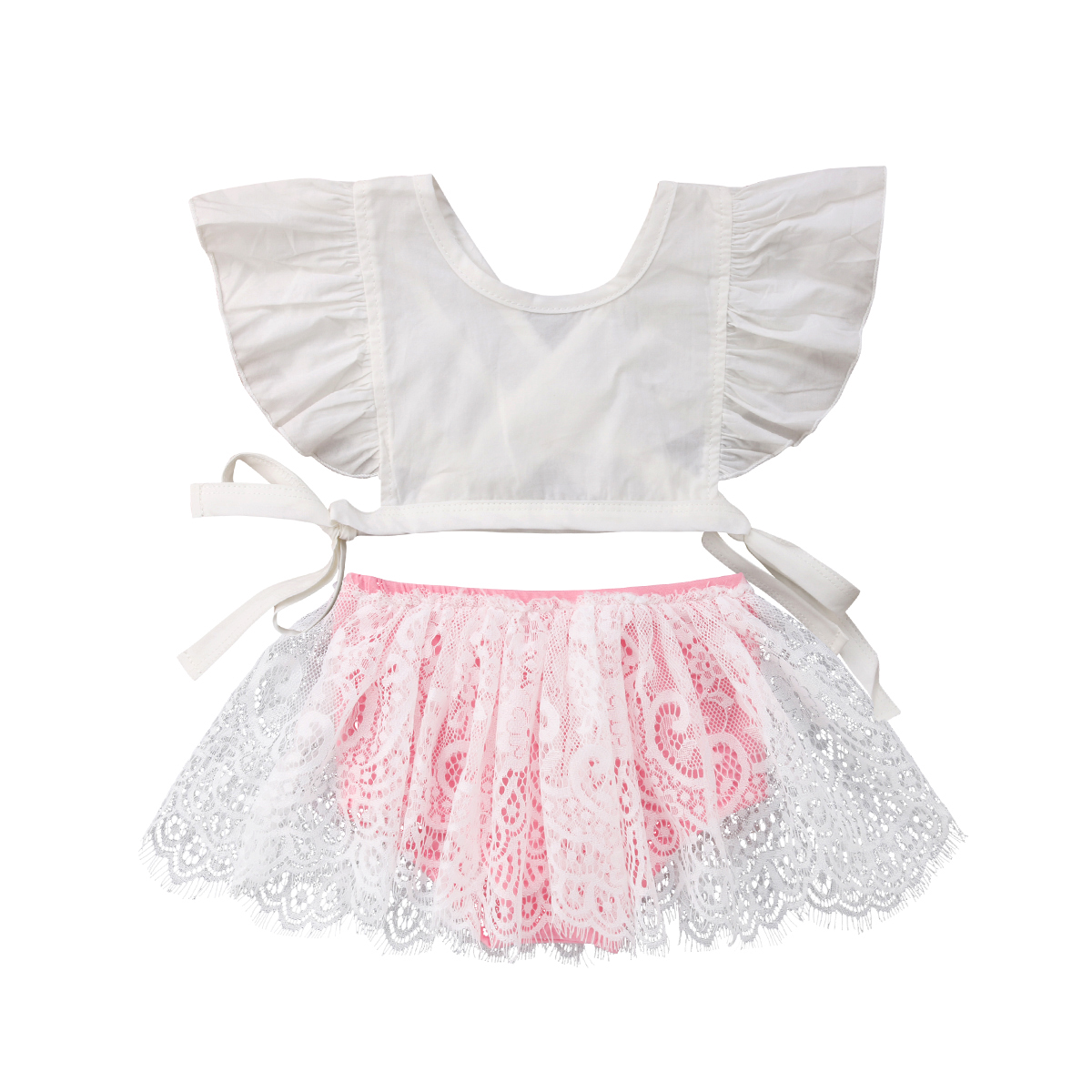 Newborn Infant Toddle Child Kids Baby Girls Clothes Sets Bare Tops Lace Tutu Shorts Princess Outfits Baby Girls 0-3T