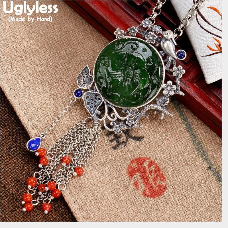 Uglyless réel solide 925 en argent Sterling à la main oiseaux pendentifs femmes Thai argent Jade fleurs colliers glands bijoux ethniques