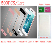 6G47118500DHL 500PCS Lot by DHL Color Silk Printing Front Tempered Glass Protector Protective Film for