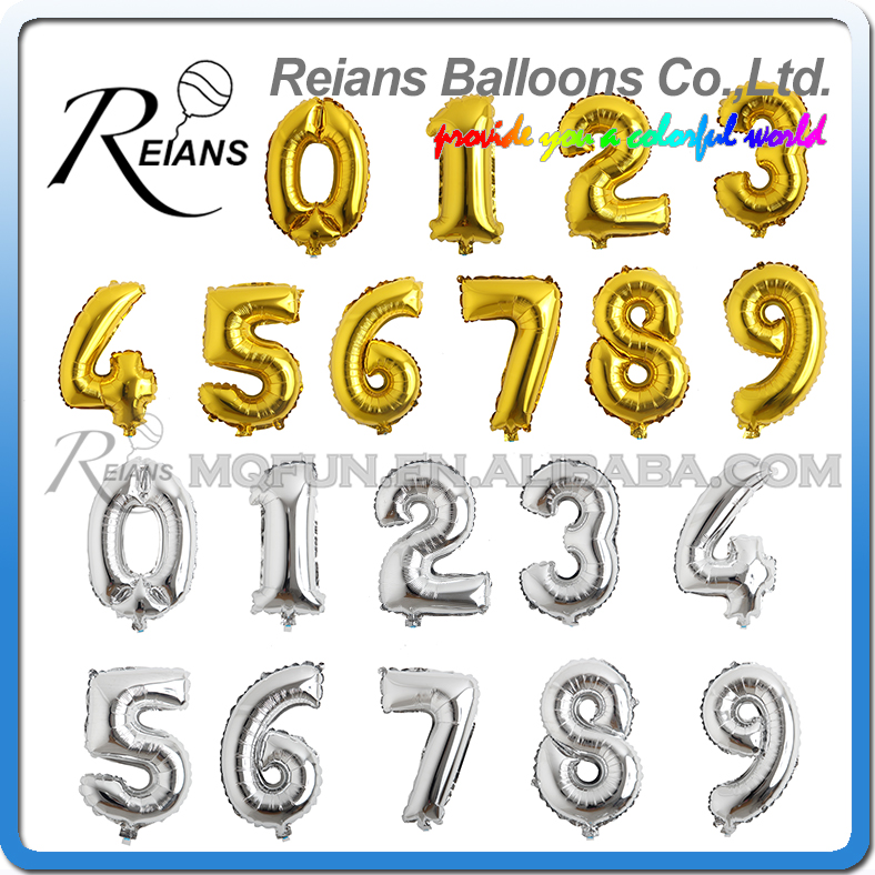 Wholesale 200pcs REIANS 16 inch gold silver number 0 9 birthday wedding party decorations aluminum foil