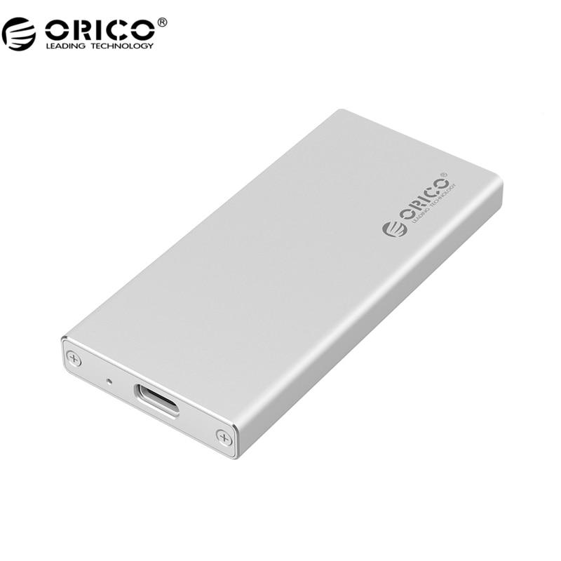 Orico MSA-UC3 Puerto tipo C aluminio msata a USB 3.0 SSD adaptador incluido, ASM1153E Controlador-plata