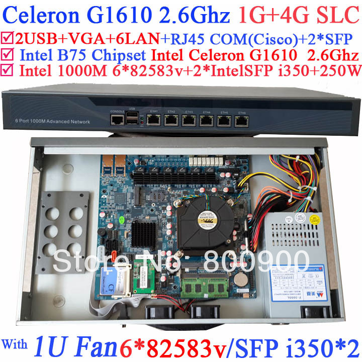 Internet cafes dedicated broadband router with 8 ports Gigabit lan Intel Celeron G1610 2.6Ghz 1G RAM 4G SLC Mikrotik PFSense ROS network routers with 6 intel pci e 1000m 82574l gigabit lan intel dual core i3 3220 3240 3 3ghz with mikrotik ros 2g ram 32g ssd