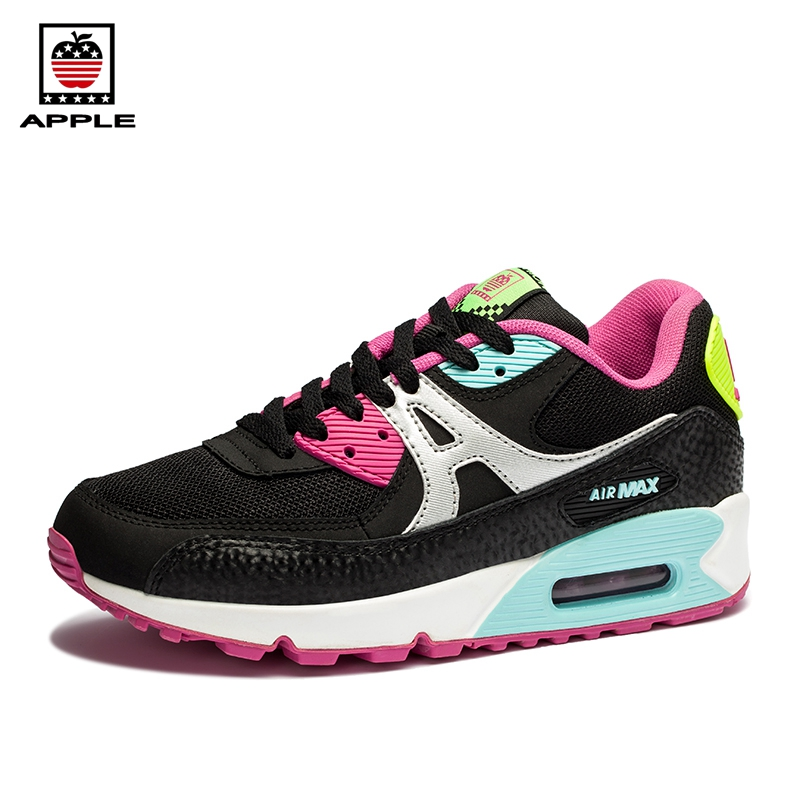 Apple Classics Women's 90 air cushion sport running shoes Popular Air Sole Zapatillas Breathable girl outdoor Athletic Shoes kelme 2016 new children sport running shoes football boots synthetic leather broken nail kids skid wearable shoes breathable 49