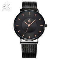 Shengke Fashion Black Women Watches 2017 Ultra Thin Quartz Watch Woman Elegant Ladies Stainless Steel Watch