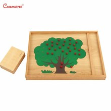 Kids Math Toys Teaching Apple Tree Counting Exercise Preschool Montessori With Box Early Education Wooden Beech Material MA147-3 montessori language toys exercise large movable alphabet capital box preschool teaching kids educational toy beech wood la024 q3